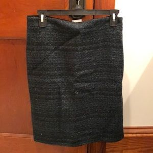 jcrew green tweed metallic skirt (new with tags)